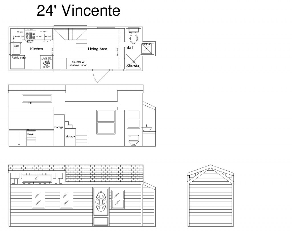24ft Vincente Cornerstone Tiny Home Plan
